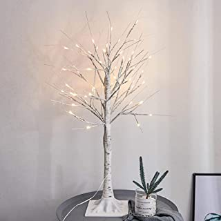 YOTHG Silver Birch Twig Tree Lights Warm White Light LED Birch Tree Lamp Twig Branch Birch Trees Lights with 24 LEDs for Christmas Home Party Wedding Indoor Outdoor Decoration