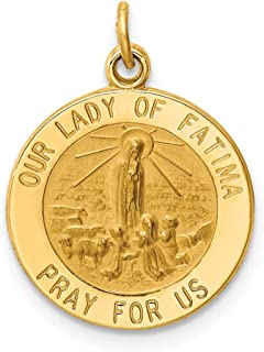 14k Yellow Gold Our Lady Of Fatima Medal Pendant Charm Necklace Religious Fine Jewelry Gifts For Women For Her