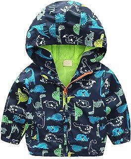 BTGIXSF Baby Boys Dinosaur Hooded Zip Jackets Windbreaker Coat for Toddler Lightweight Outwear
