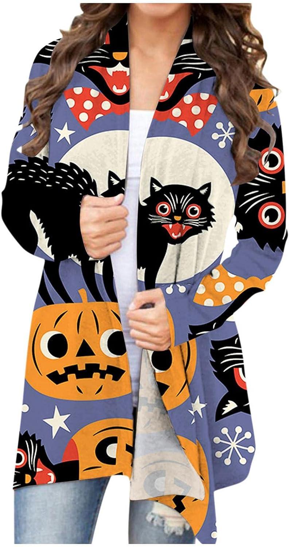Halloween Cardigan for Women Lightweight Open Front Cardigan Long Sleeve Pumpkin Print Sweatshirts Comfortable Shirts