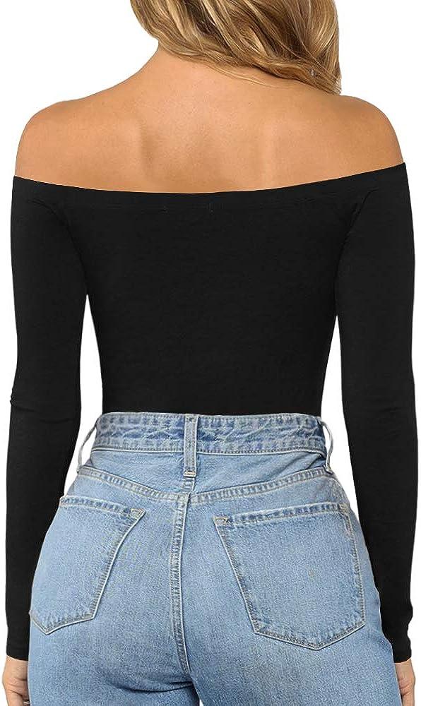 MANGOPOP Womens Off Shoulder Short Sleeve Long Sleeve Tops T Shirt Bodysuit Jumpsuit