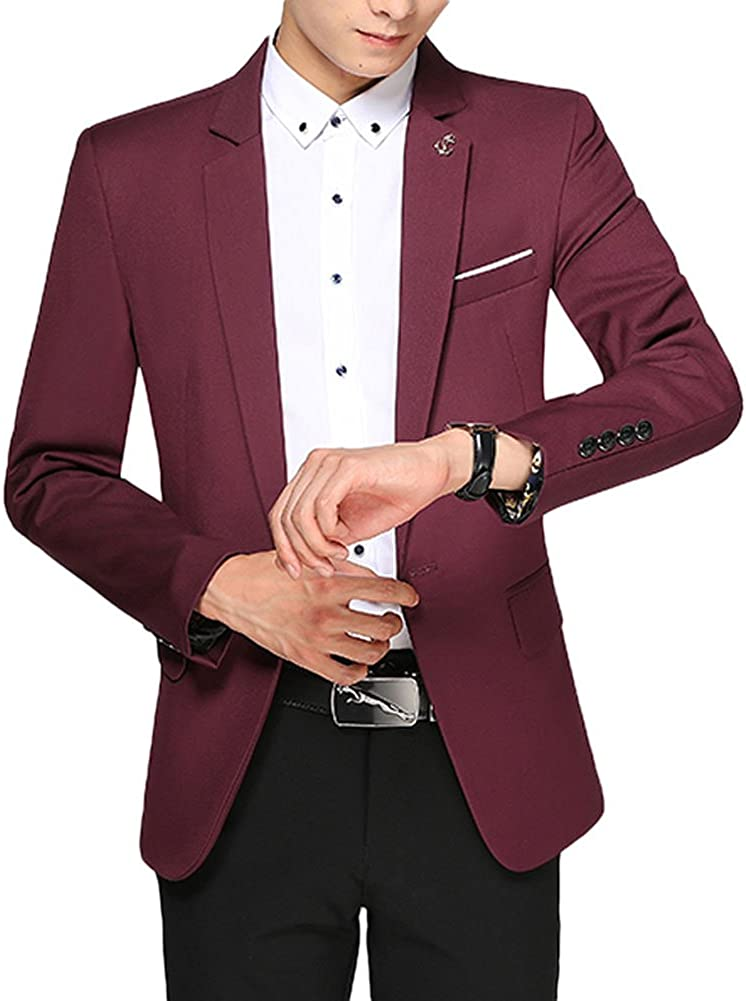 Men's Slim Fit Casual One Button Business Blazer Separate Jacket