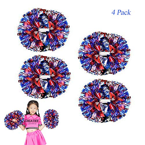 Creatiees 4 Stücke Cheerleading Pom Poms für Kinder, Cheerleader Cheerleading Pompons Metallisch Zum Junge Mädchen Schule Sport Prost Ball Tanz Verrücktes Kleid Nacht Party
