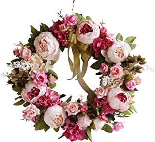 Yokoke Peony Wreath Rose Floral Twig Wreath 16 Inch Handmade Vintage Artificial Flowers Garland Front Door Wreath Beautiful Silk For Spring And Summer Wreath Display (pink)