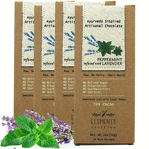 Elements Truffles Peppermint Bar with Lavender Infusion - Dairy Free Chocolate Bar - Paleo, Gluten Free, Non-GMO, Raw & Organic Chocolate Bar - Ayurveda Inspired Healthy Chocolate Bar - Four Pack