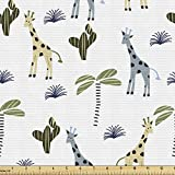 Ambesonne Cactus Print Fabric by The Yard, Arrangement of Jungle Giraffes and Plantation on a Plain Background, Decorative Fabric for Upholstery and Home Accents, 1 Yard, White Grey