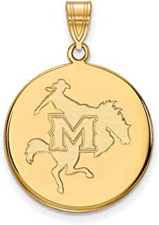 Jewelry Stores Network McNeese State University Cowboys Mascot Logo Disc Pendant Gold Plated Silver