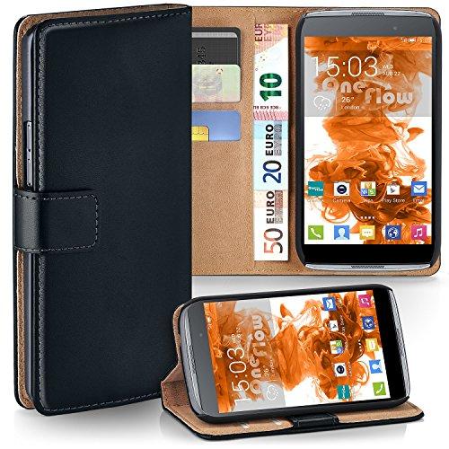 MoEx Premium Book-Hülle Handytasche kompatibel mit Alcatel OneTouch Idol 3 5.5 | Handyhülle mit Kartenfach & Ständer - 360 Grad Schutz Handy Tasche, Schwarz