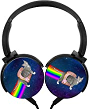 POJIA Rainbow Cat Wired Headphone Stereo Subwoofer Headset On-Ear Earphone Earpiece With Mic