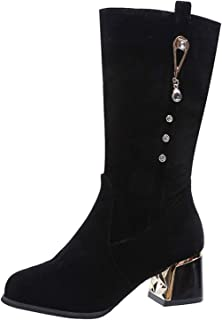 Kuitlaarzen voor dames Stijlvol met hak Halfhoge kuitlaarzen Spitse neus Blokhak Snowboots Zip Crystal Chelsea-laarzen