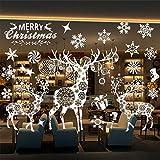 Outgeek Sticker Mural de Noël, Sticker fenêtre de la Rue de Noël avec Une Jolie décoration de Flocon de Neige, Sticker Mural, vitrine, Sticker pour Noël