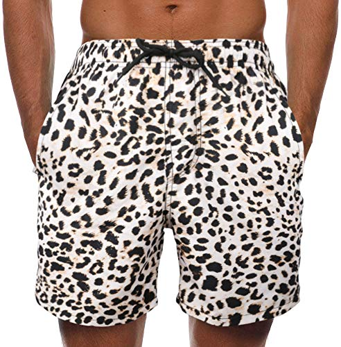 Leopard Print Swimming Trunks for Men Quick Dry Men's Swimwear with Mesh Lining Slim Swim Trunks S