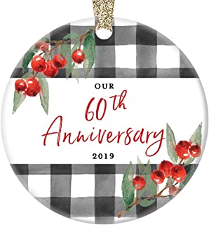 60th Wedding Anniversary Ornament 2019 Christmas Holiday Present Grandparents Mom Dad Parents 60 Year Marriage Keepsake Celebrating Sixty Years Married 3