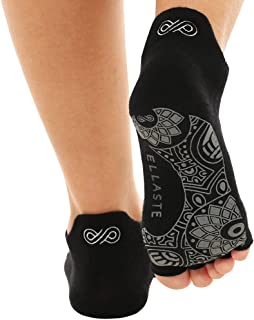 Ellaste Open Toe Yoga Socks - Non Slip Half Toe Sock with Anti Skid Grip for Yoga Pilates Barre: for Women Girl (Black,  Small/Medium (Women 5.5-8.5 / Men 4.5-7.5))