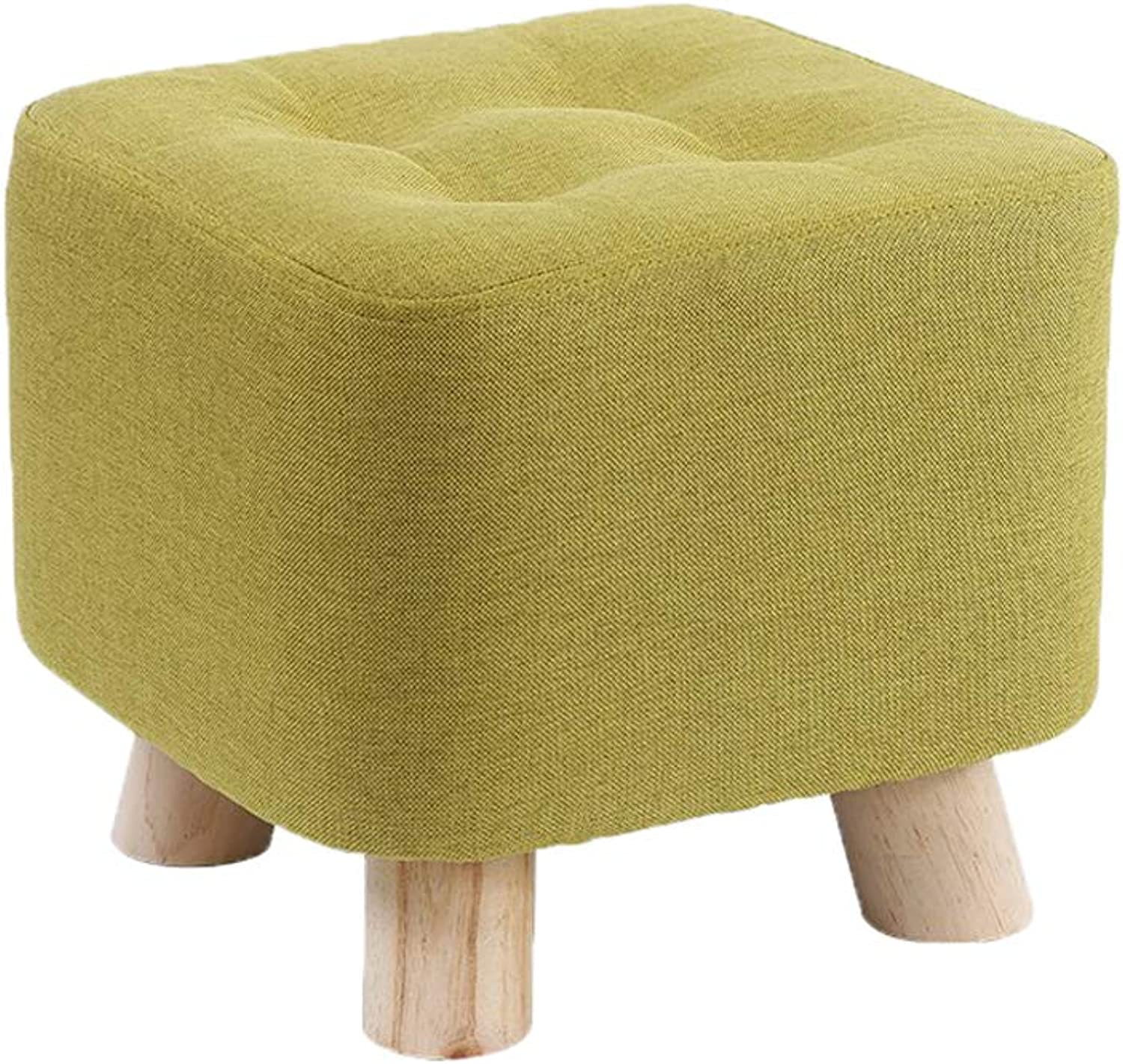 Upholstered Padded Stool Tea Table Mound Chair Footstool Fashion Home Sofa Square Stool, Linen Cotton (11×11×10 in, 4 Legs),Matcha