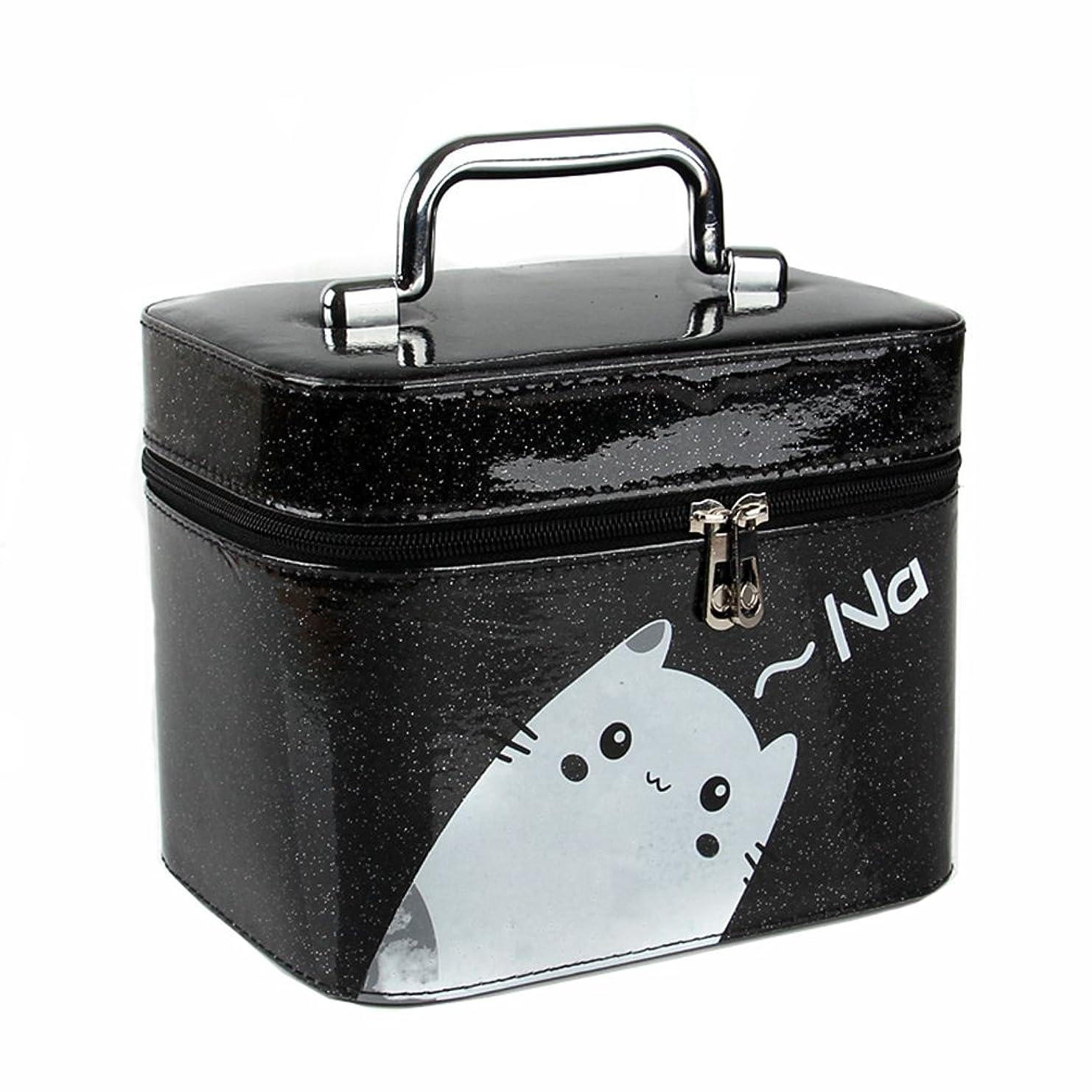 石炭ホーン体現する大容量 メイクボックス コスメボックス 猫ちゃん かわいい スメBOX 化粧品 収納ボックス 化粧ポーチ メイクポーチ 携帯便利 女性用 女の子 ミラー付き 取っ手付き おしゃれ 鏡付き 機能的 防水 化粧箱