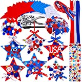 18 Sets Patriotic Foam Star Ornaments Craft Kit Red White Blue Star Cutouts Foam Shapes Patriotic Foam Stickers Pipe Cleaners Pom Poms Wiggle Eyes Ribbons for Kids Classroom 4th of July Party Décor