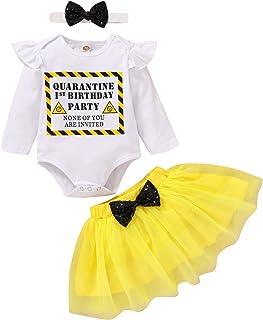 Baby Girl Quarantine 1st Birthday Cake Smash Outfit Ruffle Long Sleeve Romper Onesies Top Tutu Skirts Headband Fall Clothes