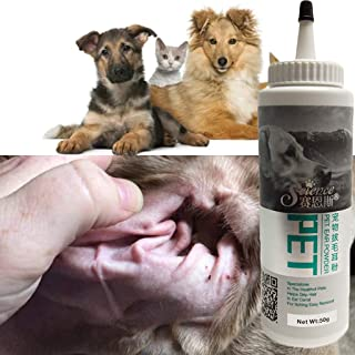 JIJIKOKO Powder Pet Ear Cleaner Pet Ear Health Care for Cats and Dogs Ear Treatment and Cleaner Tear Stain Remover Tonic and Wash Relief Infections Itching