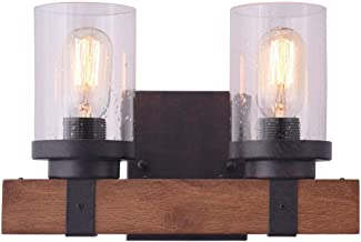 KOSTOMO Wall Lamp Wooden Wall Light Wall Sconce Two Lights Fixture with Bubble Glass Shade