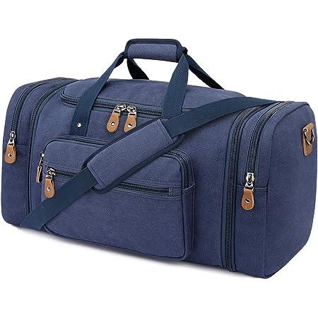 Plambag Canvas Reisetasche Vintage Weekender Größere Tasche, Unisex Sporttasche Travel Duffle Bag Urlaub Tasche (Dunkelblau, XL)