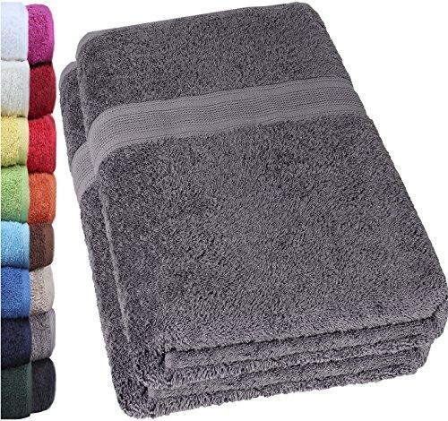 NatureMark 2er Pack DUSCHTÜCHER Premium Qualität 70x140cm DUSCHTUCH Dusch-Handtuch Doppelpack Farbe: Anthrazit grau
