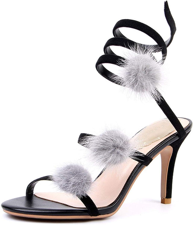 Kid Suede Summer Sandals Women Gladiator shoes High Heels Ladies Footwear Fur Pom Snake Shape Apricot Black shoes