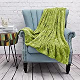 Home Soft Things Green Herringbone Brushed Throw Blanket, 50'' x 60'', Dark Citron, Lightweight Fluffy Plush Comfy Cozy Couch Bed Covers Suitable for Kids Adults Friends Home Décor