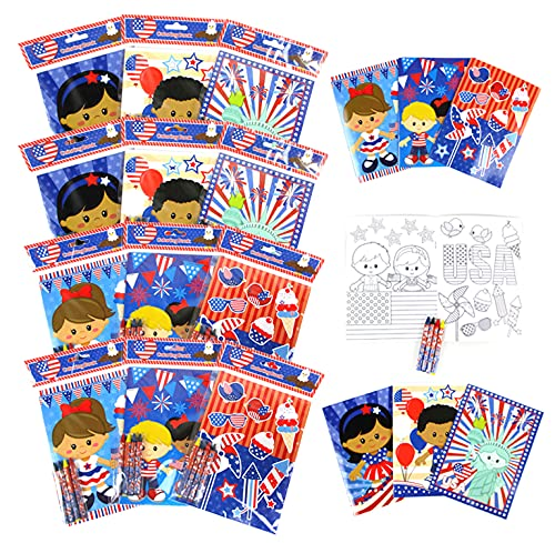 Patriotic I Love USA Coloring Books Set with Crayons - Patriotic Party Favors with 12 Coloring Books and 48 Crayons, 4th of July Party Favors, Favor Bag Filler, Carnival Giveaways, Summer arts and Crafts
