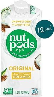 nutpods Dairy-Free Creamer Unsweetened, 11.2 FL OZ (Original, 12-pack) - Whole30 / Paleo / Keto / Vegan / Sugar Free, White