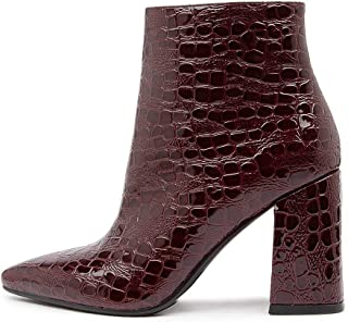 THERAPY Sidney Choc Croc Smooth Womens Shoes Block Heel Boots Ankle Boots