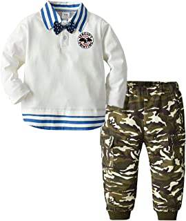 Xifamniy Newborn Boys Long Sleeve Polo Top and Matching Camouflage Pants Set