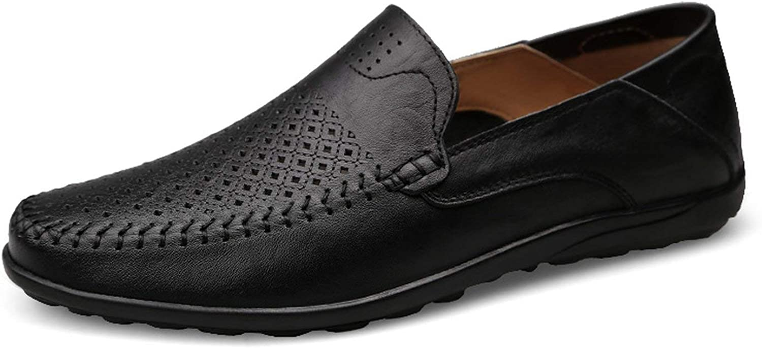 ALWAYS ME Mens Casual Summer Loafers Genuine Leather Moccasins Breathable Slip On Boat shoes