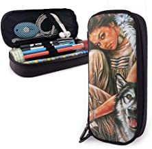 Indain Maiden and Wolf Native American Leather Pencil Case Pouch, Caja de papelería de gran capacidad