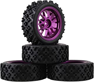 Mxfans Black Flower Pattern Rubber Tyres + Purple Y-Shape Aluminum Alloy Wheel Rims for RC 1:10 On-Road Racing Car Pack of 4