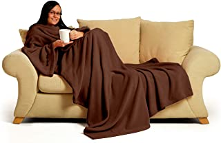 """Snug~Rug Deluxe Coral Fleece. The Blanket with Sleeves, Adult 60"""" x 84"""" - Chocolate Brown"""