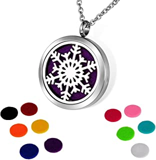 HOUSWEETY Aromatherapy Essential Oil Diffuser Necklace-Stainless Steel Snowflake Locket Pendant,11 Refill Pads (Non-Engraving)