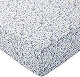 AmazonBasics Spannbetttuch, Mikrofaser, Blau mit Blumenmuster, 180x200x30cm