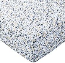 Amazon Basics FTD Sábanas Ajustables, Azul Floral, 90x190x30cm