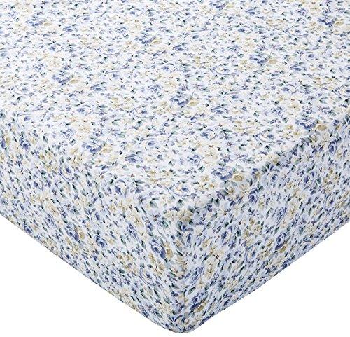 Amazon Basics Spannbetttuch, Mikrofaser, Blau mit Blumenmuster, 140x200x30cm