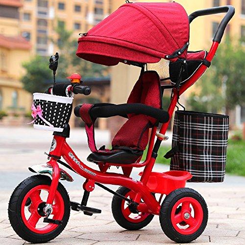 Children's bike Carrito inflable, carro de bebé del bebé, bici, triciclo de los niños, bici de los niños (Color : Rojo)