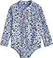 Coolibar UPF 50+ Baby Wave One-Piece Swimsuit - Sun Protective (6-12 Months- Blue Cheetah)