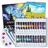 24 Tubos de Pintura Acrílica, Aottom Juego de Pinturas Pigmento de Dibujo 12 ml Tubos con 3 Pinceles e 1 Bandeja, Pintura Acrilica Manualidades para Artista, principiantes o niños