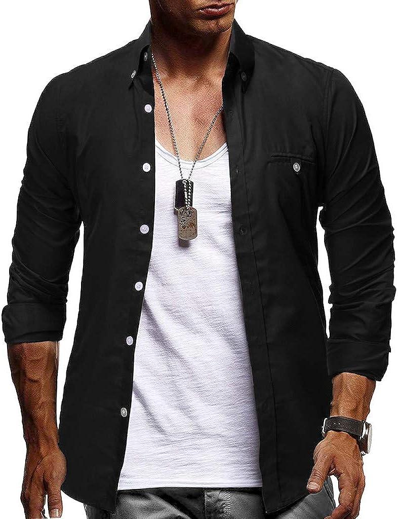 quality assurance WUAI-Men Button Down Long Large-scale sale Sleeve Regular Casual Work Slim Dr Fit