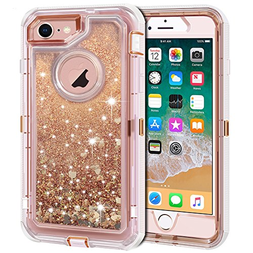 Anuck Case for iPhone 8 Case, for iPhone 7 Case (4.7 inch), 3 in 1 Hybrid Heavy Duty Defender Case Sparkly Floating Liquid Glitter Protective Hard Shell Shockproof TPU Cover - Rose Gold