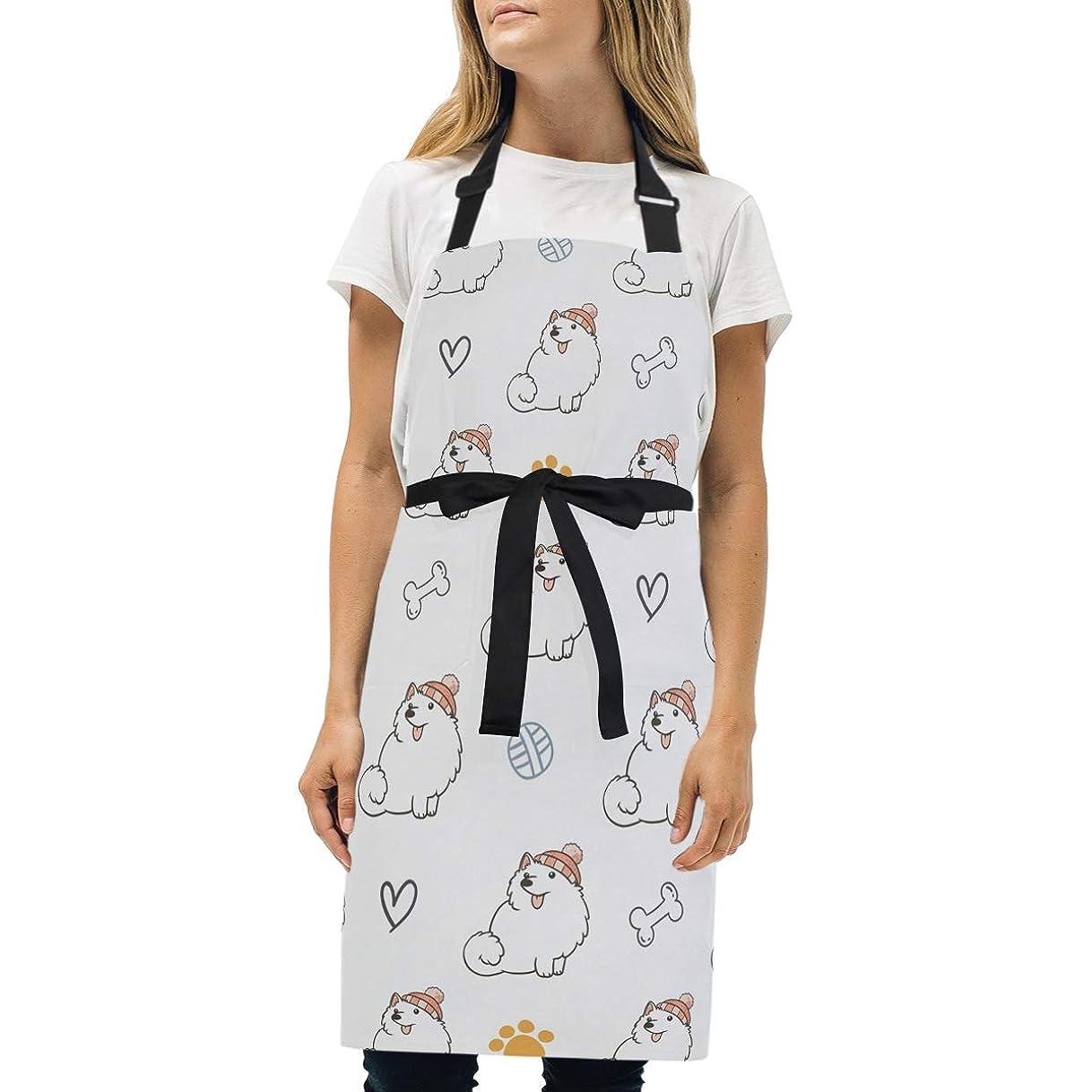 クラブ刺繍タワーシンプルエプロン 日本のスピッツ犬 エプロン 身長に応じて調節できる首ベルト 2ポケット 首掛け 男女兼用