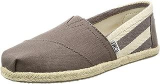Classic University Grey White Stripes Womens Canvas Espadrille Shoes Slipons