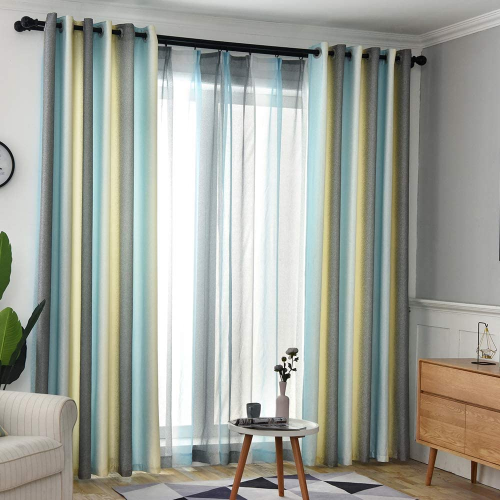 Gradient Color Ombre Curtains Faux Blackout K for security Fort Worth Mall Linen