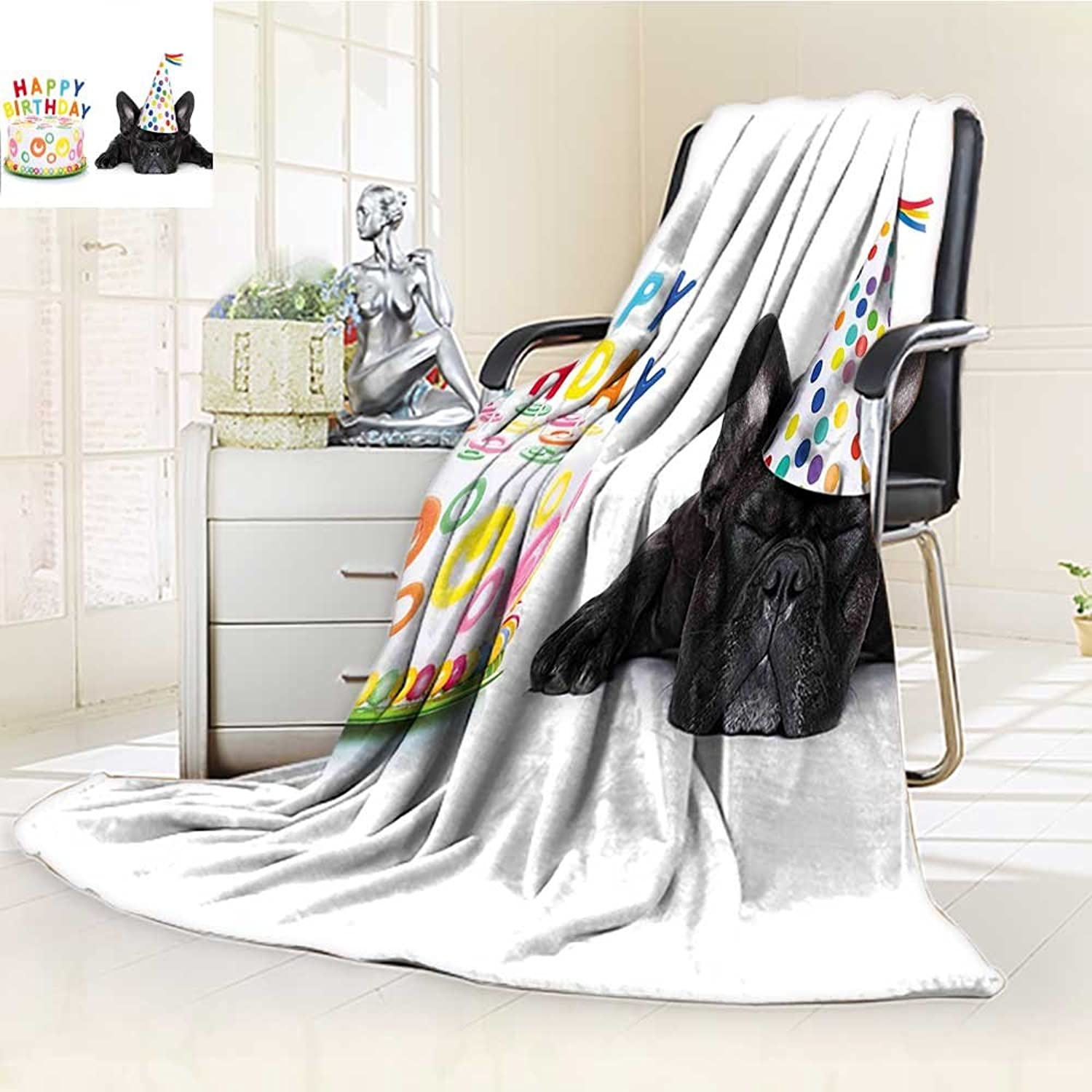 YOYI-HOME Warm Microfiber Duplex Printed Blanket Kids Sleepy French Bulldog Party Cake with Candles Cone Hat Image Multicolor Anti-Static,2 Ply Thick,Hypoallergenic W39.5  x H59