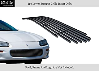 APS Compatible with 1998-2003 Chevy Camaro Main Upper Stainless Steel Black 8x6 Horizontal Billet Grille Insert C86006J